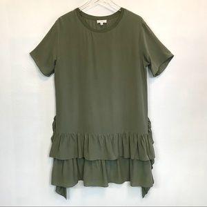 a loves a 100% Silk Ruffle T-Shirt Style Dress